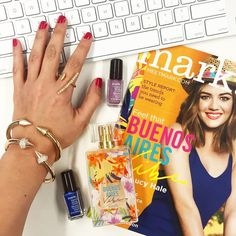 Wednesday morning what's on our desk: mark. Magalog, Buenos Aires Vibe EDT & Nailed It Minis (wearing our Looking Sharp Bracelets and Hint of Bling ring!) -markgirl Instagram www.youravon.com/ericagerlemann