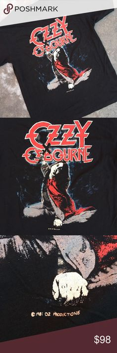 """1981 Vintage Ozzy Osbourne Rock Tee Copyrighted vintage Ozzy Ozbourne tee from 1981. Shit is cotton and has that soft worn in feel. Graphic features Ozzy wielding a crucifix. Best fits a women's size S/M or a men's XS. This tee is super rad! Sad to see it go but hoping it finds a good home. Not Unif tagged for exposure.  Measurements are approximate and taken lying flat:  Armpit to armpit - 16.5"""" Length - 22"""" Sleeve length - 6"""" UNIF Tops Tees - Short Sleeve"""