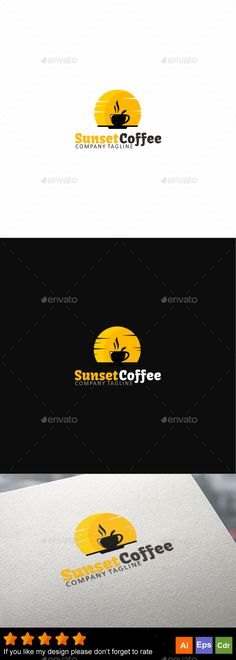 Sunset Coffee by GoldenCurve Editable CMYK color ready to print,included : Ai Cs Eps 10 CorelDraw Cdr Help.pdf