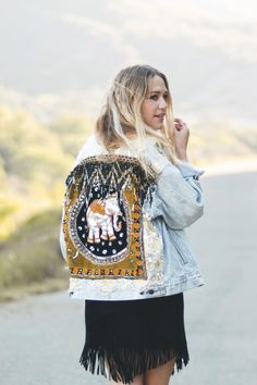 ☾ ☆☽ Introducing the Wild & Free Embellished Elephant Jacket. Inspired by a…