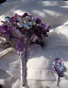 Custom Order purple brooch bouquet plum cascade by UptownGirlzz