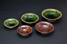 織部刻文皿 Dish with engraved, Oribe type,  飴釉刻文皿 Dish with engraved, Amber glaze2012