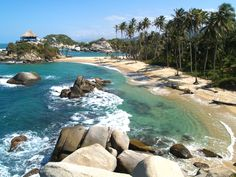 Parque Nacional Natural Tayrona - Hadassah would like this beach. Sierra Nevada, Colombian Cities, Colombia Travel, Conquistador, Lost City, South America, Latin America, Caribbean Sea, Historical Sites