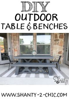 DIY Outdoor Table and Benches! Free plans at www.shanty-2-chic.com