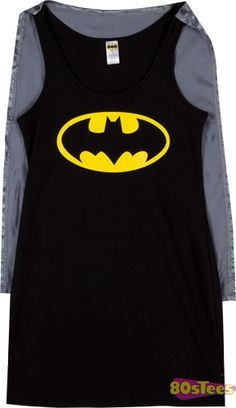 Batgirl Caped Sleep Tank; cool jammies and the cape will cover up my hump. Jana B