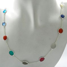 Solid 925 silver mix colorful shiny gemstones long chain fashion party necklace #Handmade #Chain