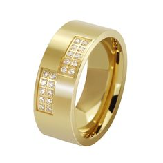Wedding Rings For Man Black Rings Yellow Gold Color Ring Men Stainless Steel Cubic Zirconia Vintage Charm Alliance Mariage Wedding Rings For Women, Wedding Ring Bands, Rings For Men, Wedding Men, Luxury Engagement Rings, Engagement Jewelry, Wedding Engagement, Gold Rings Jewelry, Anillo De Compromiso