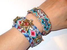 Vintage Rhinestone Friendship Bracelet - Bohemian Sparkle (made to order). $85.00, via Etsy.