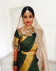 50 Stunning Bridal Sarees That Are Our Favourites From The Year 2017 Bridal Silk Saree, Saree Wedding, Silk Sarees, Saris, Wedding Veil, Wedding Dresses, Traditional Silk Saree, Traditional Outfits, South Indian Bride