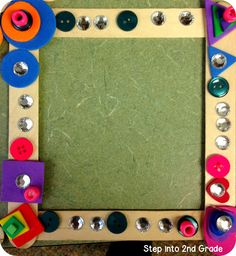 Perfect parent gift: Students can create these cute buttoned and jeweled picture frames inspired by Teacher Bits and Bobs!