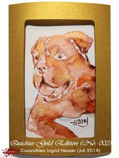 """No. 002 Hundemotiv-Grußkarten limitierte Edition """"Gold""""/limited Edition """"Gold"""" handgemalt nach Fotovorlage/ dog's portrait greeting cards, painted from photograph; with water colour on Hahnemühle Paper © Wandklex Ingrid Heuser künstlerische Wandbemalung, Ratzeburg/Germany - ein Designerstück von wandklex bei DaWanda, - in meinem kleinen Klexshop http://de.dawanda.com/shop/wandklex können Sie Ihr persönliches Bild nach Ihrer eigenen Fotovorlage bestellen."""