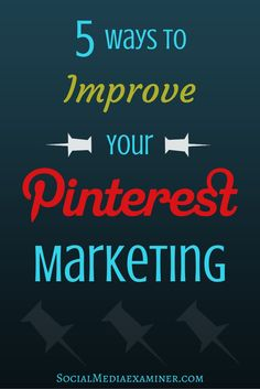 Do you Use Pinterest for your business? Learn how to optimize your images for pinning and repurpose your most popular pins for increased engagement. http://www.socialmediaexaminer.com/5-ways-improve-pinterest-marketing/?utm_source=Pinterest&utm_medium=PinterestPage&utm_campaign=New