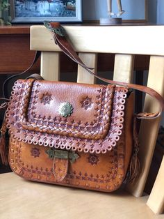 Excited to share this item from my shop: Boho Tooled leather satchel purse made in Poland adjustable strap hippie Satchel Purse, Leather Satchel, Leather Purses, Leather Tooling, Tooled Leather, Shopping Day, Phone Wallet, Retro Design, Saddle Bags