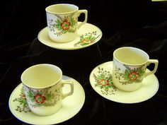 Rare Child Size  Japanese Cups and Saucers by Cupsofthepast, $20.00