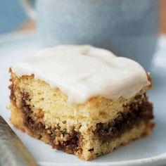 Low-fat BREAKFAST COFFEE CAKE uses fat-free yogurt instead of sour cream and egg substitute instead of eggs...so yummy and healthy!   health.com