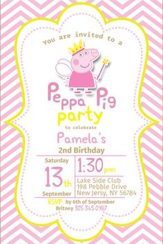 Peppa Pig Invitation Peppa Invite Peppa Pig by NamPartyDesign Invitacion Peppa Pig, Cumple Peppa Pig, 4th Birthday Parties, 3rd Birthday, Birthday Ideas, Peppa Pig Invitations, Invites, Pig Birthday Cakes, Pig Party