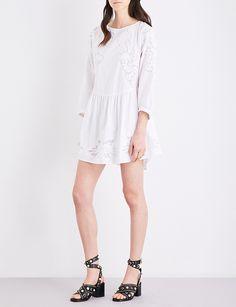 MAJE Raolita embroidered cotton-poplin dress