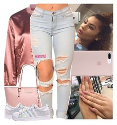 """trading places x usher"" by lamamig ❤ liked on Polyvore featuring Boohoo, MICHAEL Michael Kors and adidas"