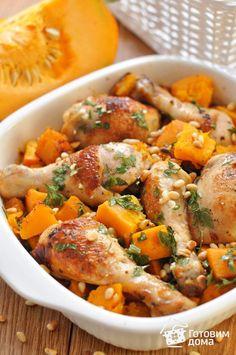 Рецепт Курица, запеченная с тыквой