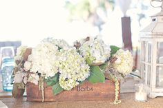 White Hydrangeas in a wooden herb box create a soft rustic centerpiece for your wedding reception. #WeddingDecor #RusticWedding Wooden Box Centerpiece, Low Centerpieces, Decoration Table, Hydrangea Centerpieces, Hydrangea Arrangements, Centerpiece Ideas, Flower Arrangement, Friend Wedding, Wedding Wishes