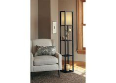 Floor Shelf Lamp Black with Red Shade (Includes CFL Bulb ...