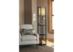 Lighting: Threshold™ Floor Shelf Lamp With Ivory Shade.