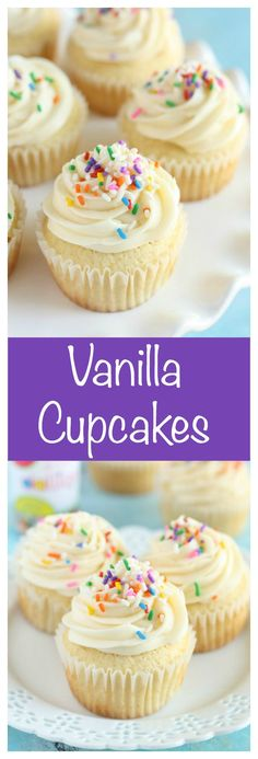 Perfect vanilla cupcakes topped with an easy vanilla frosting.