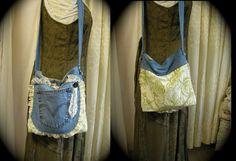 SALE Denim Purse Matelasse, handmade ruffled lace fabric bag upcycled blue jean denim