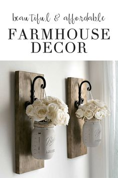 These affordable DIY farmhouse ideas are perfect for decoration on a budget for your home. Add a rustic cozy charm with a vintage even boho feel to your master and guest bedroom living room or walls. Easy fun and inexpensive! - April 27 2019 at Easy Home Decor, Handmade Home Decor, Cheap Home Decor, Decorations For Home, Inexpensive Home Decor, Farmhouse Interior, Farmhouse Homes, Farmhouse Ideas, Farmhouse Style
