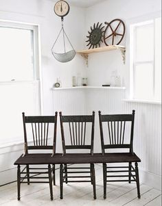 Really want to make these. Take 3 old chairs and make them into a bench. So easy! (read the link) Perfect for one side of a farm/kitchen table or even outside on a patio/sunroom. You could even paint them bright colors if you don't like rustic look.