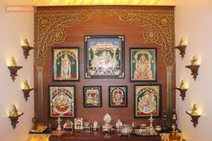 Brown Wall in Pujaroom home deco pooja room