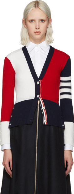 Thom Browne Tricolor Cashmere Cardigan. Long sleeve cashmere cardigan in blue, red, and white. Rib knit y neck collar, cuffs, and hem. #ThomBrowne #Blue,White,Red #Cardigans #SSENSE #Women #fashion #obsessory #fashion #lifestyle #style #myobsession #party #celebration #christmas #christmasgift #luxury #trend #occasionwear #womenfashion