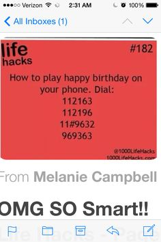 Birthday song on phone What would have to go through your mind to even think of doing that But it's awesome The More You Know, Good To Know, Just For You, Simple Life Hacks, Useful Life Hacks, Funny Life Hacks, Things To Do When Bored, Things To Know, Weird Facts