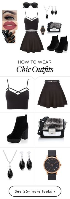 """""""Black city chic"""" by mullic on Polyvore featuring New Look, Charlotte Russe, Karl Lagerfeld, Marc Jacobs, Smashbox and plus size clothing"""