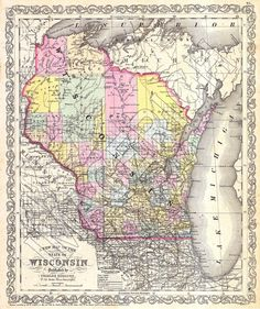 Wisconsin Map, 1856