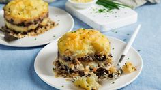Wild Mushroom and Caramelized Onion Shepherd's Pies. This recipe can also be prepared in a 9-inch deep-dish pie plate.