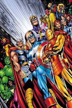 The Avengers are my favorite old run Marvel title. I love the Marvel Universe and this title encompasses it. I have Avengers as a complete run. Avengers Comics, Hq Marvel, Marvel Comics Art, The Avengers, Marvel Heroes, Marvel Comic Character, Comic Book Characters, Comic Book Heroes, Marvel Characters
