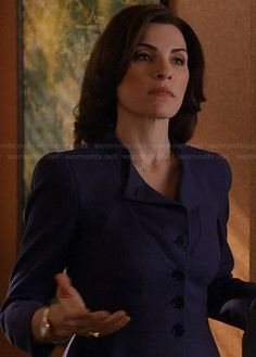 Alicia's blue collarless jacket on The Good Wife.  Outfit Details: http://wornontv.net/20588/ #TheGoodWife #CBS
