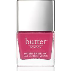 butter LONDON Patent Shine 10X Nail Lacquer 11ml - Flusher Blusher ($21) ❤ liked on Polyvore featuring beauty products, nail care, nail polish, butter london nail polish, formaldehyde free nail polish, butter london, gel nail polish and gel nail color