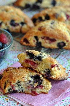 "Blueberry Raspberry Scones - ""Flakey, buttery scone oozing with blueberry and raspberry fruitiness."""