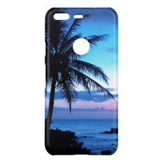 #Tropical Island Beach Ocean Pink Blue Sunset Photo Uncommon Google Pixel Case - #travel #trip #journey #tour #voyage #vacationtrip #vaction #traveling #travelling #gifts #giftideas #idea