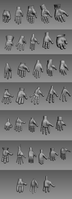 Hands wireframe back palm