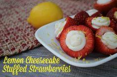 Easy Lemon-y Cheesecake-y Stuffed Strawberries!