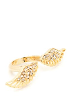 embellished wings open ring