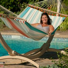 Available in two summer colours, the Colada double hammock by La Siesta comes with spreader bars and reinforced edges make the material extremely tear-resistant.