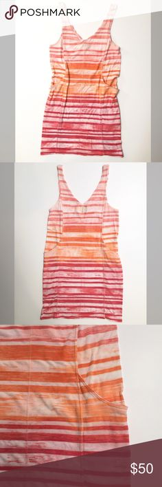 "Gypsy 05 striped tank dress size small Gypsy 05 striped tank dress size small. Double v neck, ribbed tank dress. 2 side pockets. Material: 50% cotton 50% poly. Measurements: underarm to underarm 16"", length 32"". In good used condition. Gypsy 05 Dresses Mini"