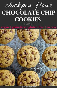 Crisp at the edges and chewy near the centers, my chickpea flour chocolate chip cookies will WOW you! They're grain-free, gluten-free, vegan & irresistible. Vegan Gluten Free Desserts, Vegan Dessert Recipes, Vegan Treats, Healthy Desserts, Baby Food Recipes, Kid Recipes, Paleo Vegan, No Flour Cookies, Cookies Vegan