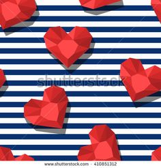 Vector seamless pattern with red gem stones in heart shape and blue stripes. 3d stylized hearts and diamonds. Abstract background. Design for fashion textile print, wrapping paper, web background.