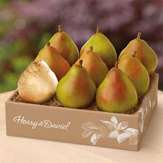 The Favorite® Royal Riviera® Pears - It all started with pears. Really good pears. Pears so big and juicy, you eat them with a spoon®. Well, that's what Harry and David used to say anyway. Our Royal Riviera® Pears really are unique. They're soft and smooth inside with a taste so sweet, you might want to save them for dessert.