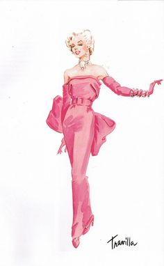 """Fashion Illustration Ideas Travilla costume design sketch for the gown Marilyn Monroe wore in her famous musical number """"Diamonds Are a Girl's Best Friend"""" for the classic film GENTLEMEN PREFER BLONDES Gentlemen Prefer Blondes, Costume Design Sketch, Arte Fashion, Paper Fashion, Fashion Design, Barbie Mode, Hollywood Costume, Marilyn Monroe Art, Hollywood Icons"""
